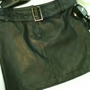 Forever 21 small belted faux leather mini skirt